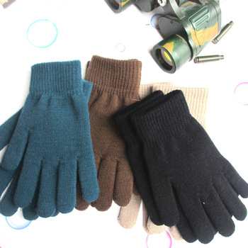 Women Men Unisex Winter Ribbed Knitted Full Fingered Gloves Basic Solid Color Thicken Plush Lining Mittens Thermal Wrist Warmer image