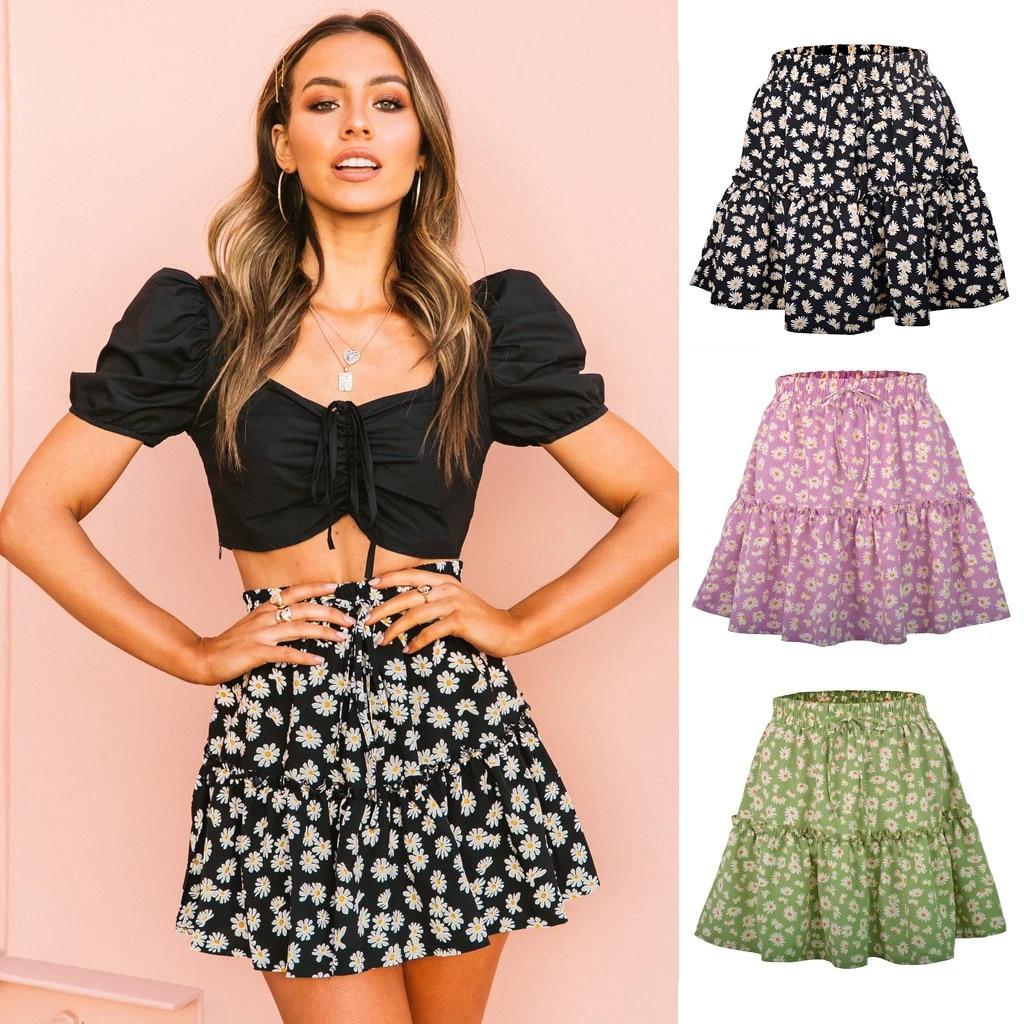 Women Skirts 2020 Floral Print A Line Mini Skirt Cotton Ruffles Pleated  Elastic Waist Skirt Lace Up Beach Holiday Casual Skirts|Skirts| - AliExpress