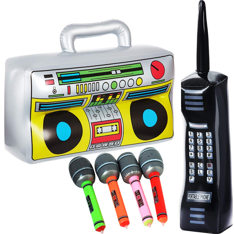 4PCS/SETInflatable Boom Box PVC Radio Inflatable Mobile Phone 2Pcs Inflatable Microphones Funny Photo Props Party Decorations