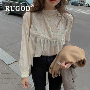 Женская кружевная блузка RUGOD, белая блузка с вышивкой, туника с длинным рукавом в стиле бохо, корейская мода, одежда с полуворотником