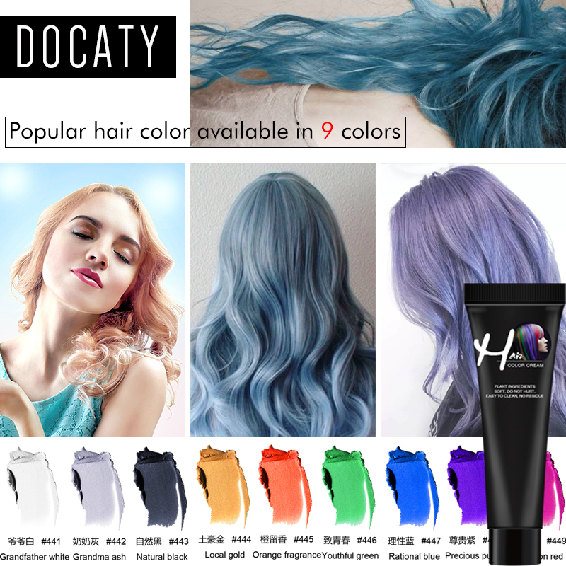 9 Colors Disposable Hair Color Wax DIY Hair Dye Modeling Dying Cream Fashion Grandma Grey One-time Hair Coloring Paint Mud