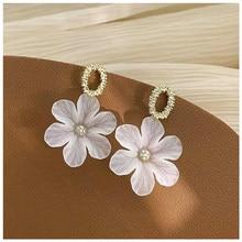MENGJIQIAO-Pendientes de cristal con forma de flor para mujer, aretes, estilo elegante y fino, fiesta, vacaciones, moda coreana