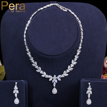 Pera Classic Marquise White CZ Bridal Jewelry Sets for Women Wedding Long Drop Earrings and Necklaces Costume Accessories J296