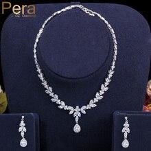 Pera clássico marquise branco cz conjuntos de jóias de noiva para o casamento feminino brincos longos e colares acessórios de traje j296