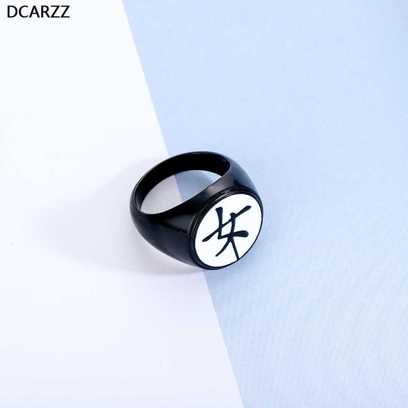 "Kagami Family's Crest Black Ring Fashion Jewelry Tsurugi Kanji for ""Female"" Ladybug and Cat Noir Kagami's Ring for Women Anime"