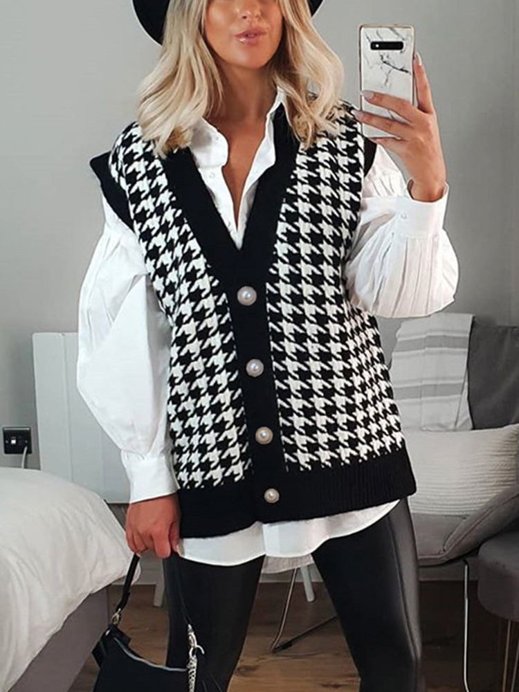 Vest Cardigan Jumper Knitted Sweater Houndstooth Black Autumn V-Neck Winter Fashion Women
