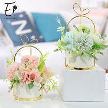 Erxiaobao Fake Flower Bonsai with Pot Vase Pompon Chrysanthemum Hydrangea Peony Artificial Flowers Wedding Party Home Decor
