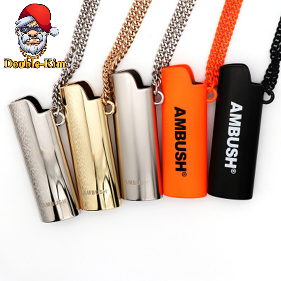 The lighter Case Men Necklace Hip-Hop Rock Street Culture Titanium Stainless Steel Gold Black Chain Necklace Fashion Man Jewelry