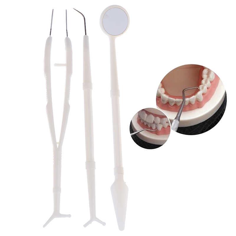 3pcs สแตนเลสสตีลเครื่องมือทันตกรรม Dental Examination ฟันกระจก Probe Scaler ชุดทำความสะอาดฟันสะอาด