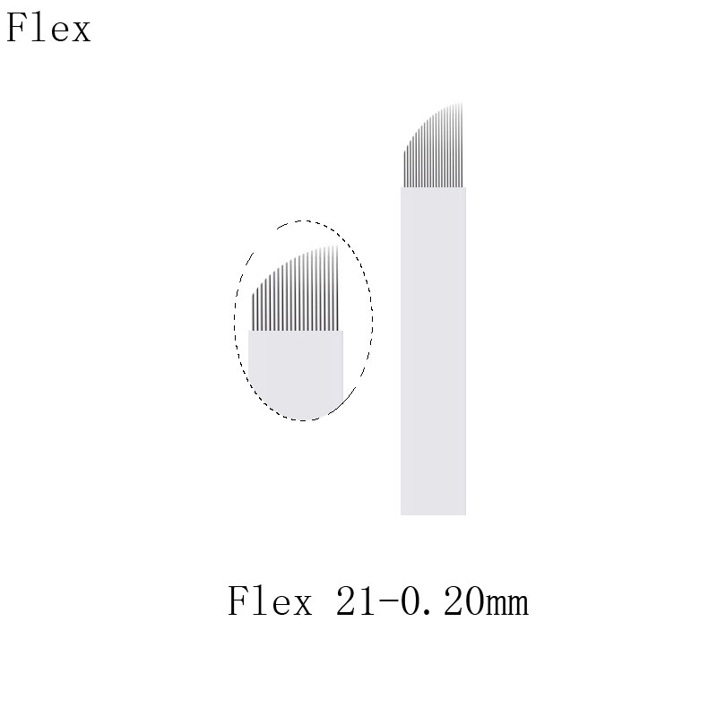 Microblading 21Pins 21Flex 0.20mm White Eyebrow Tattoo Needles Manual Embroidery Microblades For Aluminum Pen With Lock-Pin