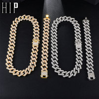 Hip Hop 1Set 20MM Gold Silver Heavy Full Iced Out Paved Rhinestones Cuban Chain CZ Bling Rapper Necklaces For Men Jewelry