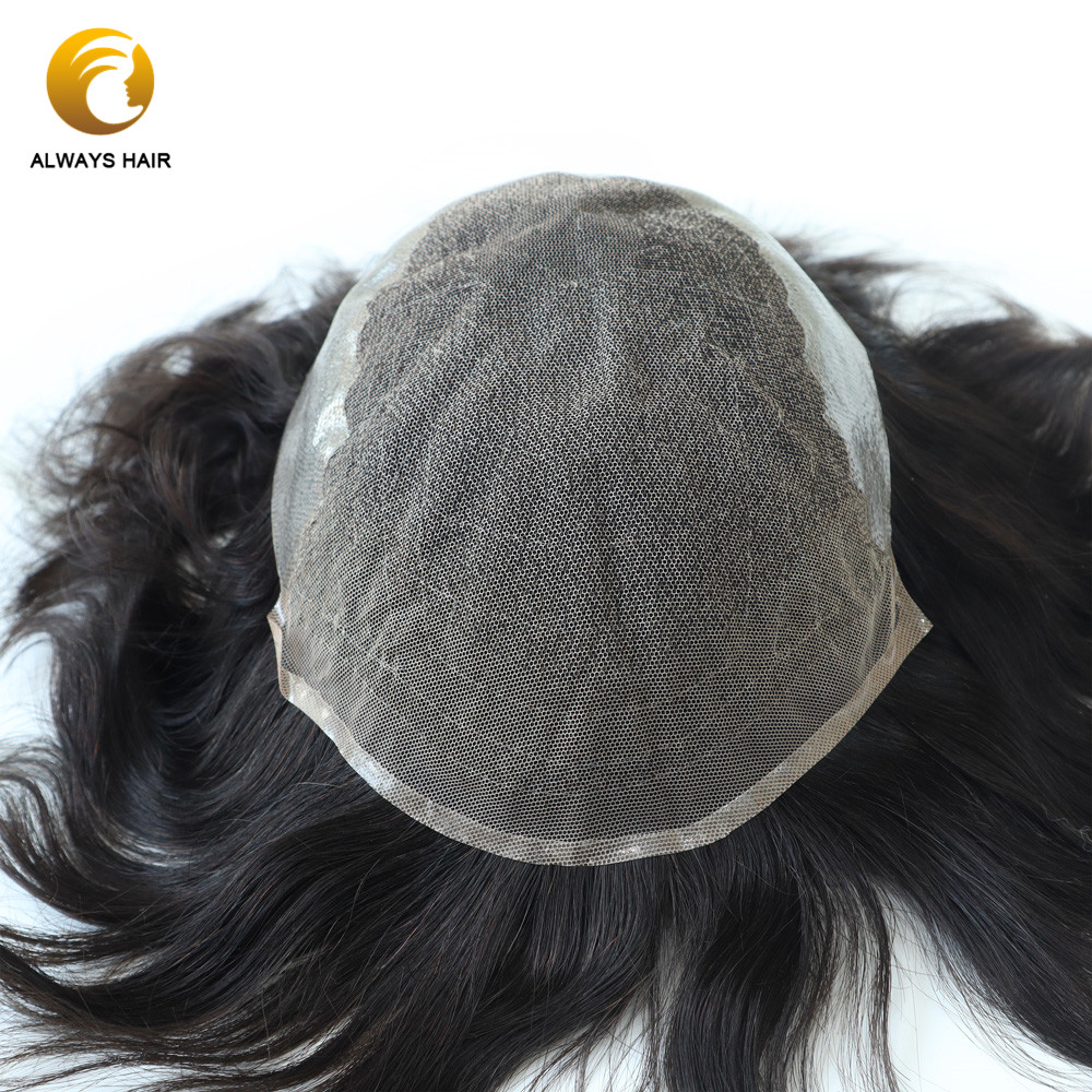 "QTH - New Products Q6 Man Human Hair Toupee 6"" Lace & PU Male Hair Toupee Indian Hair Wigs For Men Medium Density Hair Prosthes"