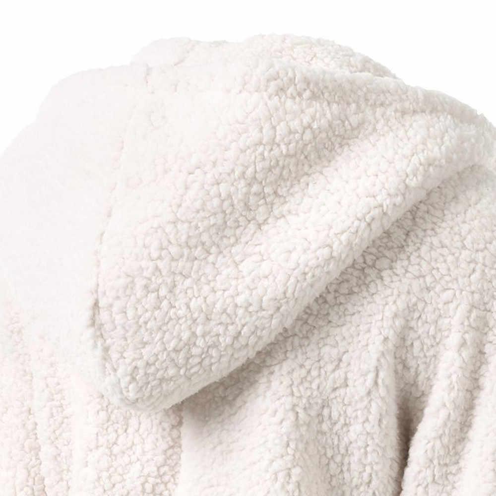 여성 양털 테디 후드 지퍼 솔리드 포켓 후드 후드 코트 겨울 따뜻한 양모 지퍼 업 코튼 코트 아웃웨어 캐주얼 운동복
