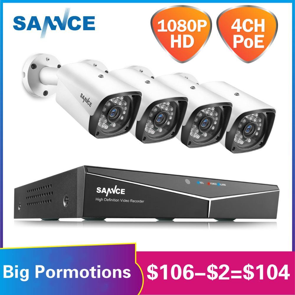 SANNCE 4CH HD 1080P XPOE CCTV видео NVR система 4 шт. 2MP POE ip камера для улицы, защищенная от атмосферных воздействий, Домашняя безопасность, наблюдение, Wi Fi комплекты