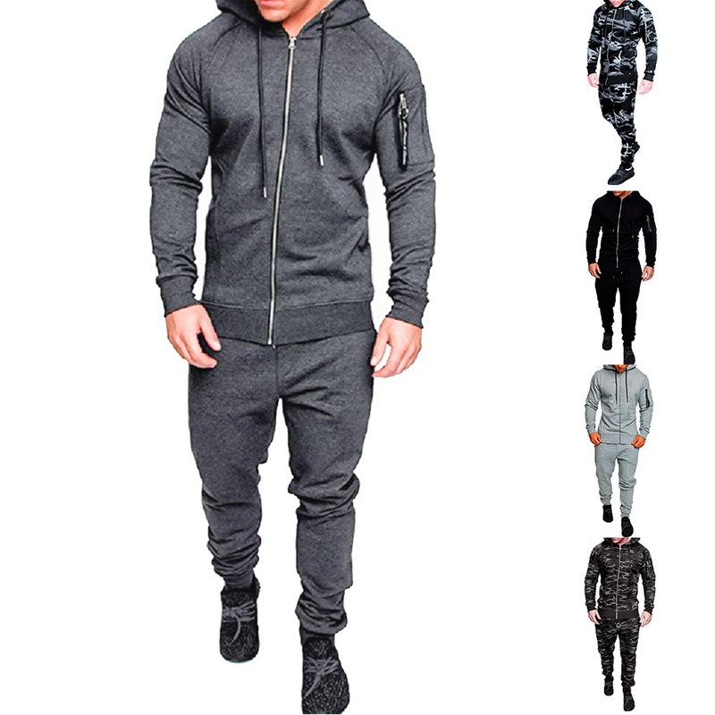 Men Printing Tracksuit Sets Camouflage Sporting Hoodies Autumn Hooded Outwears Men Fitness Sports Sets Camo Running Sportwears