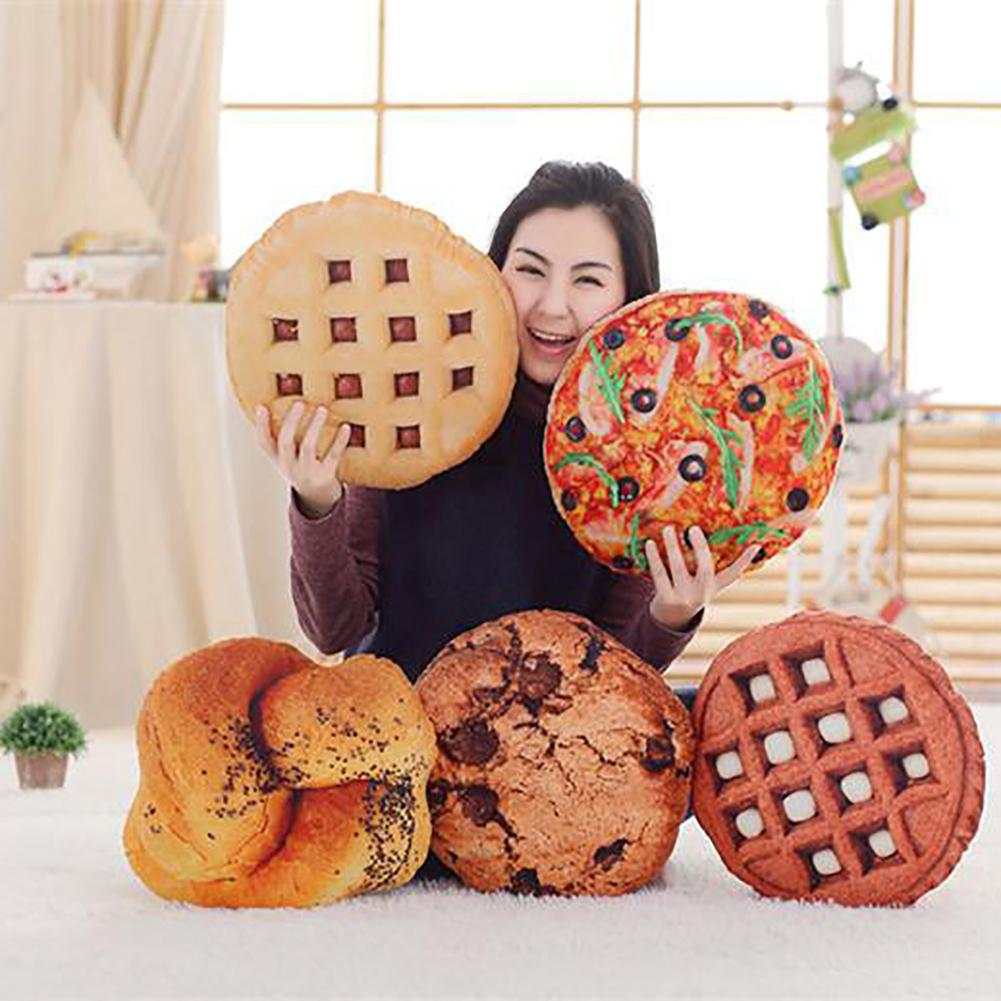 3D Simulation Cookie Pizza Bread Food Soft Nap Pillow Cushion Kids Funny Toys For Children Girls Birthday Gifts New