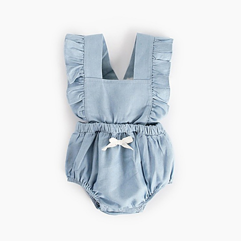 Cute Baby Girl Ruffle Solid Color Romper  Jumpsuit Outfits Sunsuit For Newborn Infant Children Clothes Kid Clothing