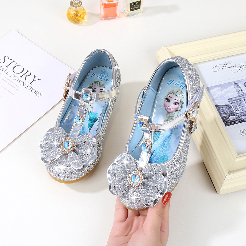 Children  Shoes Gift For Girls Princess Shining Shoes Fashion Cartoon Soft Bottom Quality Leather Shoes Performance Show Shoes