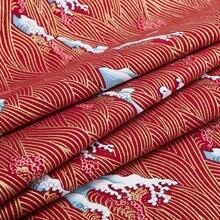 Tessuto di cotone bronzato rosso giapponese delle onde della marina blu scuro tessuto per i mestieri di Cheongsam del Kimono di Diy accessori fatti a mano 45*145cm S5-TJ1027