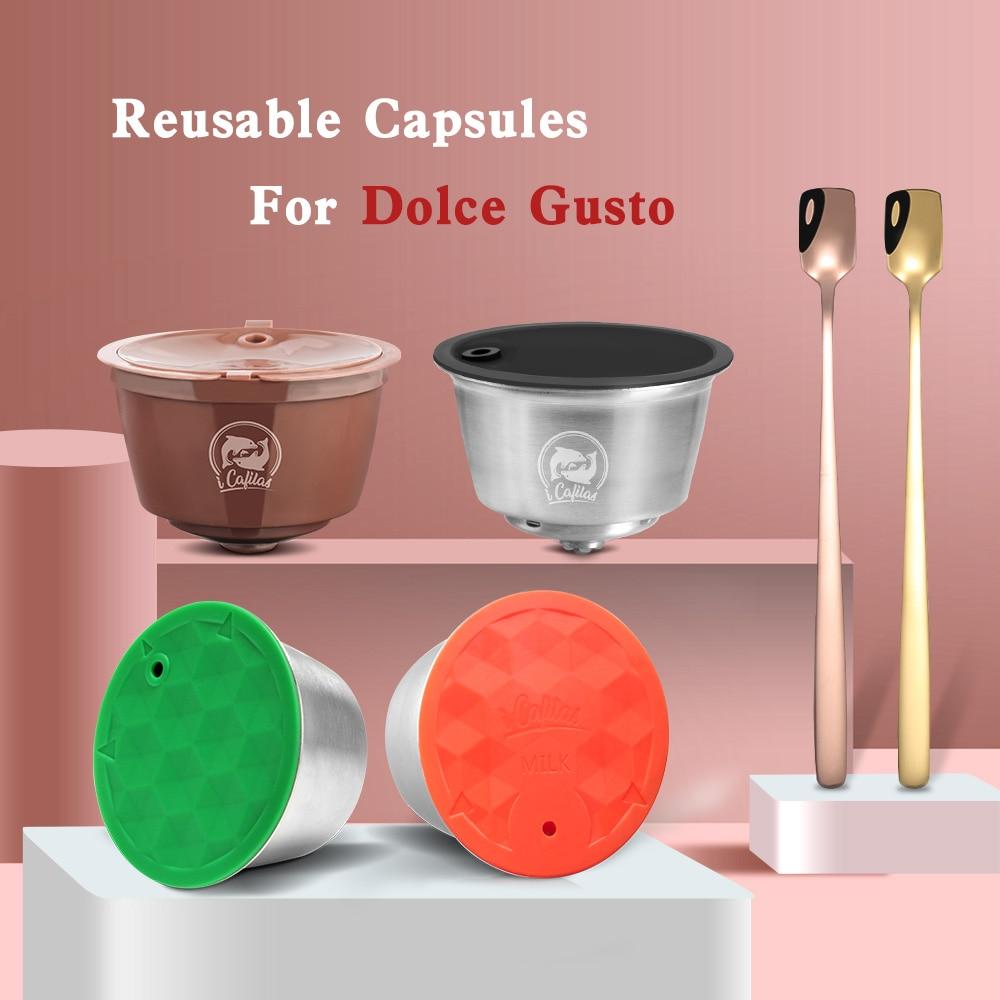 עבור דולצ 'ה גוסטו קפה כמוסה כמוסת פלסטיק Refillable לשימוש חוזר תואם עם נסקפה דולצ' ה גוסטו מילוי כוס שימוש 150 פעמים