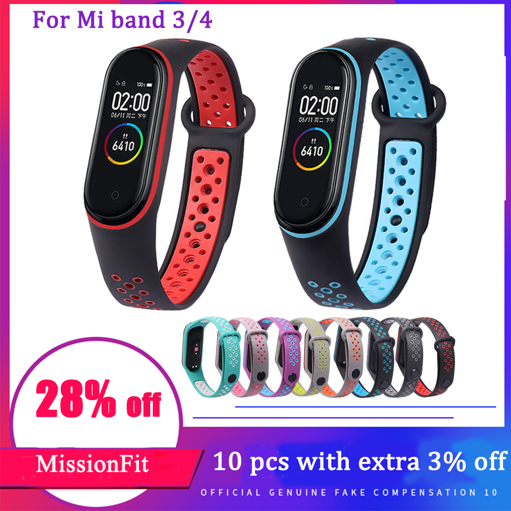 For Xiaomi Mi Band 3 4 Sport Strap Watch Silicone Wrist Strap For Xiaomi Mi Band 3 4 Bracelet Miband 4 3 Strap Smart Bracelet