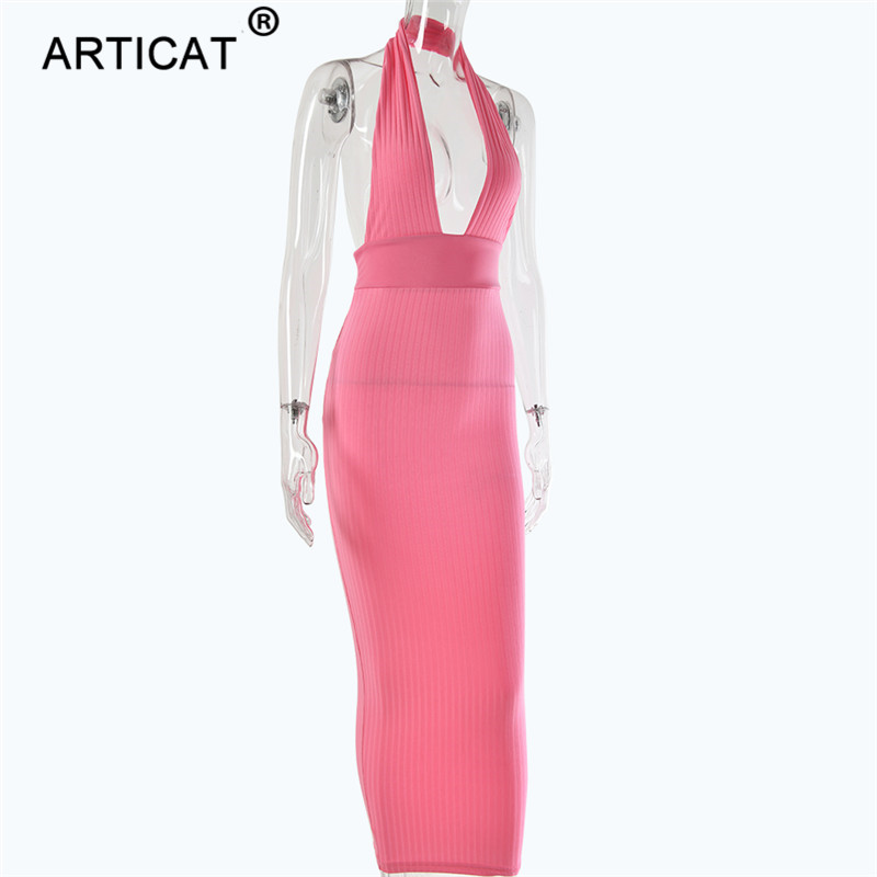 Articat Halter Backless Sexy Knitted Pencil Dress Women White Off Shoulder Long Bodycon Party Dress Elegant Summer Dress 19 11