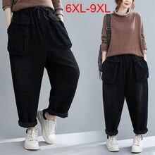 150Kg grande taille femmes nouveau taille élastique pantalon en velours côtelé ample 6XL 7XL 8XL 9XL coton poche pantalon croisé noir