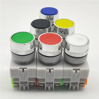 цена на 22mm LAY37 Y090 Self-reset Push button switches Red Green Blue Yellow White Black 1NO 1NC 10A250VAC