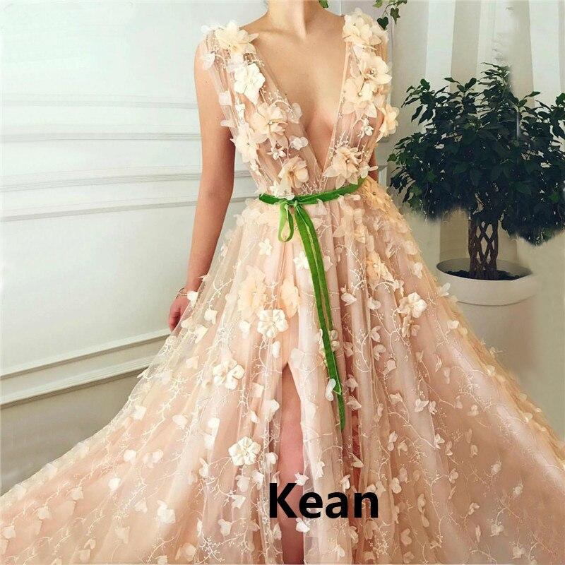 Champagne Slit Evening Dress Deep-v Peach Special Occasion robe soiree Islamic Dubai Kaftan Saudi Arabic Evening Gown Prom Dress