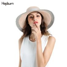 Hepburn brand 2019 Women Summer Beach Raffia Hat Flamingo Temperament Flat Straw Hats Womens Sea