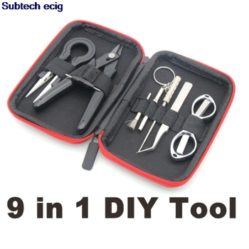 9 in 1 DIY Tool Kit Bag Blacksmith Ceramic Tweezers Pliers Wire Coil Jig Winding for Ecig RBA RDA RDTA tank Atomizer Accessories lovekeke dual zipper case vape diy tool bags for e cigarette mod prm40 80 vinci x rda rba tank coil jig pliers accessories