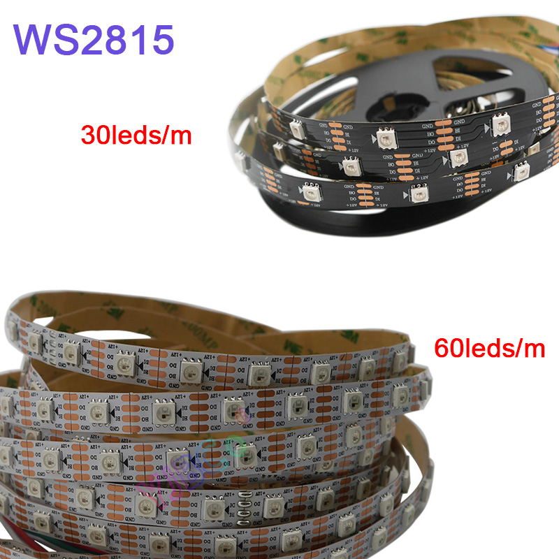 5m/lot WS2815 pixel led strip light;DC12V 30/60 pixels/leds/m;IP30/IP65/IP67;Addressable Dual signal Smart led strip tape-in LED Strips from Lights & Lighting