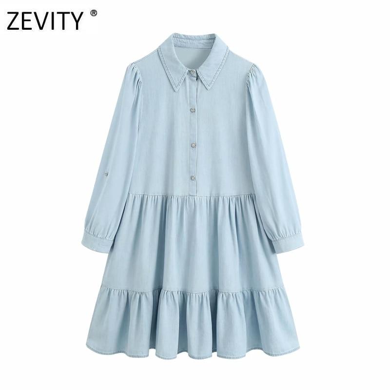 Zevity New women fashion diamond buttons pleats denim shirt dress female three quarter sleeve casual vestido chic dresses DS4189