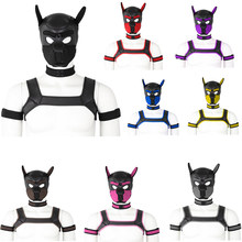 Man Costume Puppy Play Dog Bondage Head Mask Play Body Restraint Costume Chest Harness Belt Top Dog Hood Choker Collar Arm Set(China)