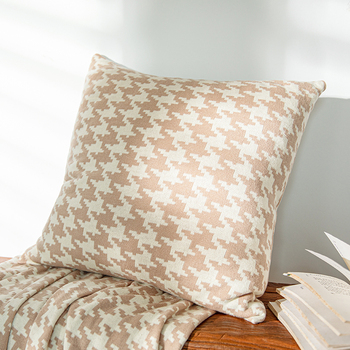 Cotton Cushion cover 45x45cm Hounds tooth Beige Pillow Cover Black White Home Decoration For Sofa Bed Durable Zip Open beige plaid cushion cover vintage colored dots moroccan style pillow cover 45x45cm home decoration zip open