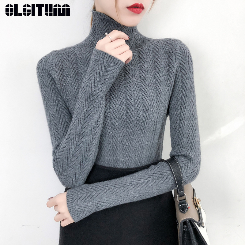 Warm Turtleneck Bottoming Women Sweater Autumn And Winter 2020 New Slim Long Sleeve Tight Knitted Bottom Shirt Thick  Jumper Top