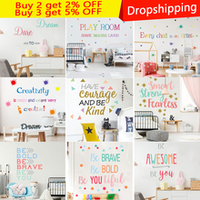 Colour Font Motto Inspirational Quotes Wall Art Bedroom Decorative Stickers  Diy Home Decals Mural Art Poster Vinyl Paper motto print cloth art