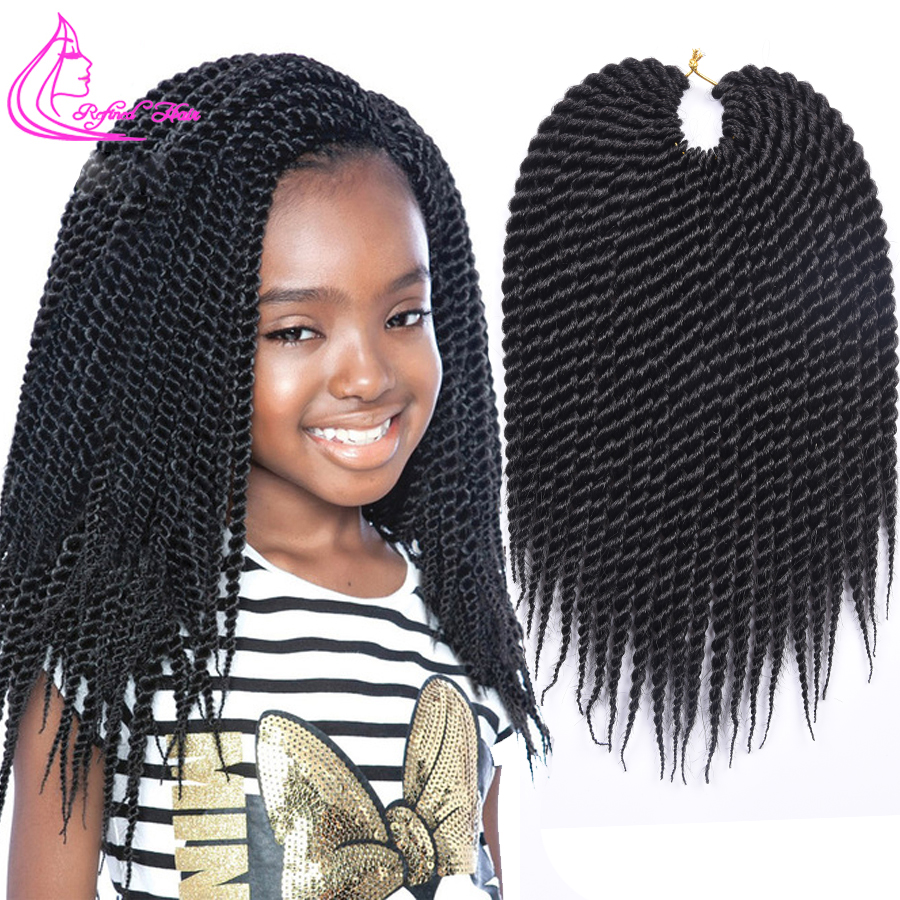 Refined 12 14 16 18 20 22Inch 22Roots Medium Crochet Braids Senegalese Twist Hair Extensions Ombre Brown Grey Synthetic Braid
