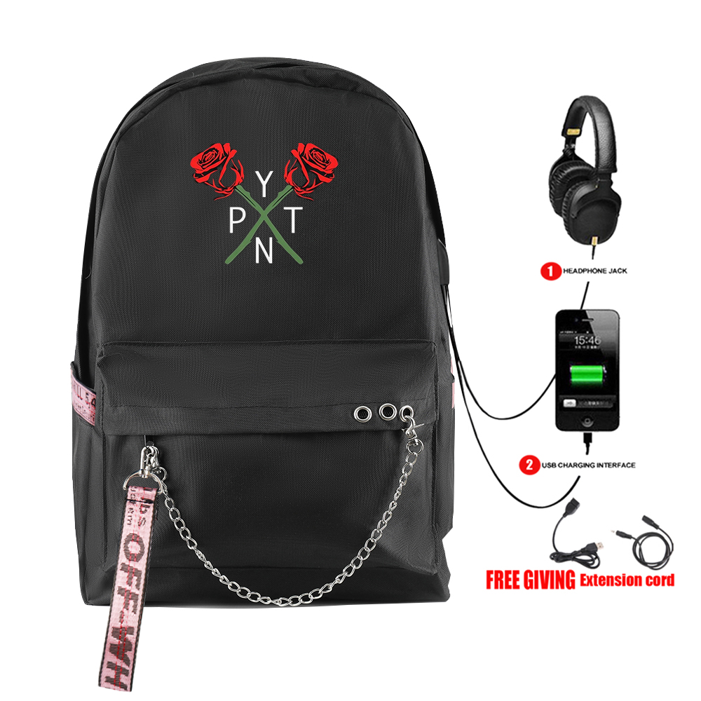 Payton Moormeier PYTN Printed Net Red Hot Backpack With USB Zipper Harajuku Fashion New Arrival Shoulder Student Travel Backpack