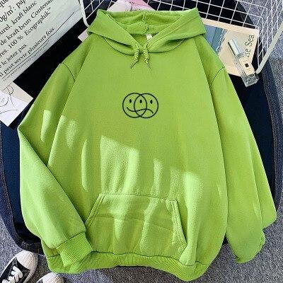 Korean Streetwear Sweatshirt Men Women Casual Pullover Hip Hop Long Sleeve Smile Sad Face Line Print Sport swear Tops Hoodies 8