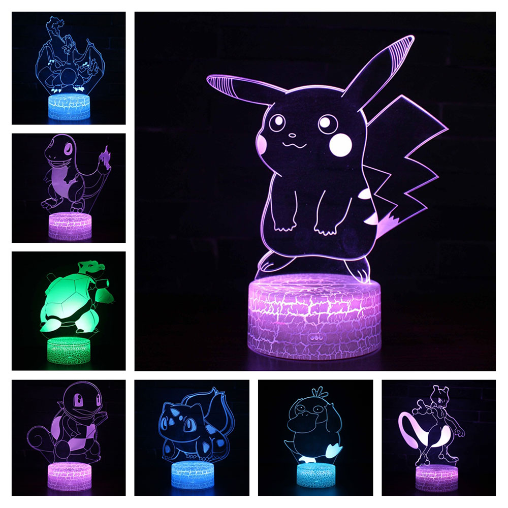 Pocket Monster 3D Light LED Table Lamp Illusion Night Light Psyduck Pikachu Model 7 Colors Changing 3AA Battery Powered USB Lamp