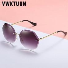 купить VWKTUUN Rimless Sunglasses Women Vintage Round Sun glasses For Female Eyewear Outdoor Sport Cler Lens lunette de soleil по цене 324.35 рублей