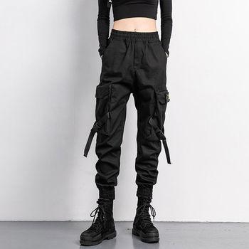 Black Elastic Waist Big Pocket Jogger Pants