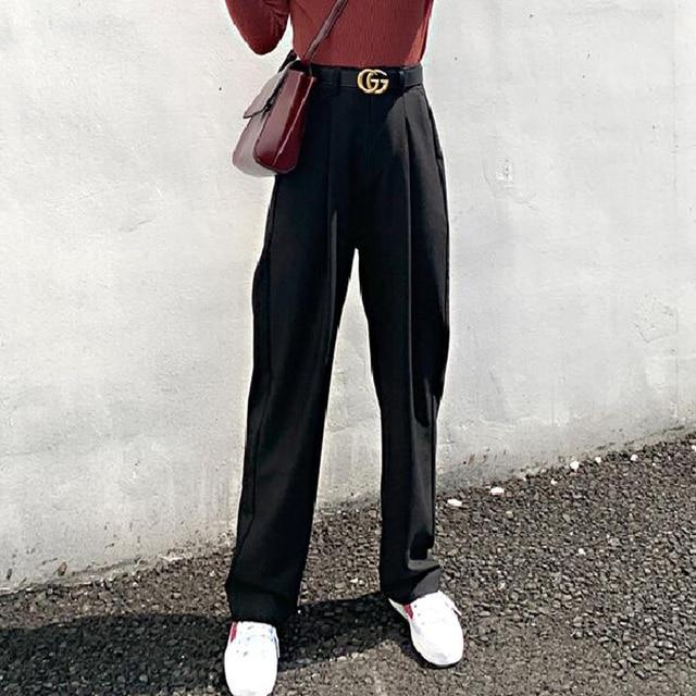 Chic High Waist Loose Straight Pants  5