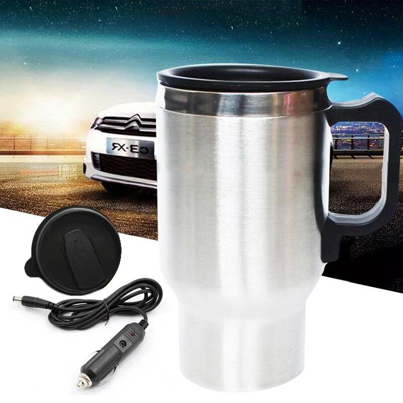 12V 450ml elektrikli In-araba paslanmaz çelik seyahat isıtma kupası araba kupası kupa çoğu araba bardak tutucular oto aksesuarları