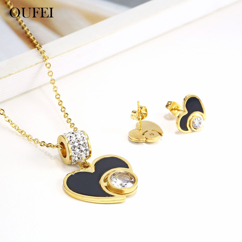 OUFEI Black Shell Heart Necklace Set Of Earrings For Women Stainless Steel Jewelry Woman Vogue 2019 Jewellery Accessories