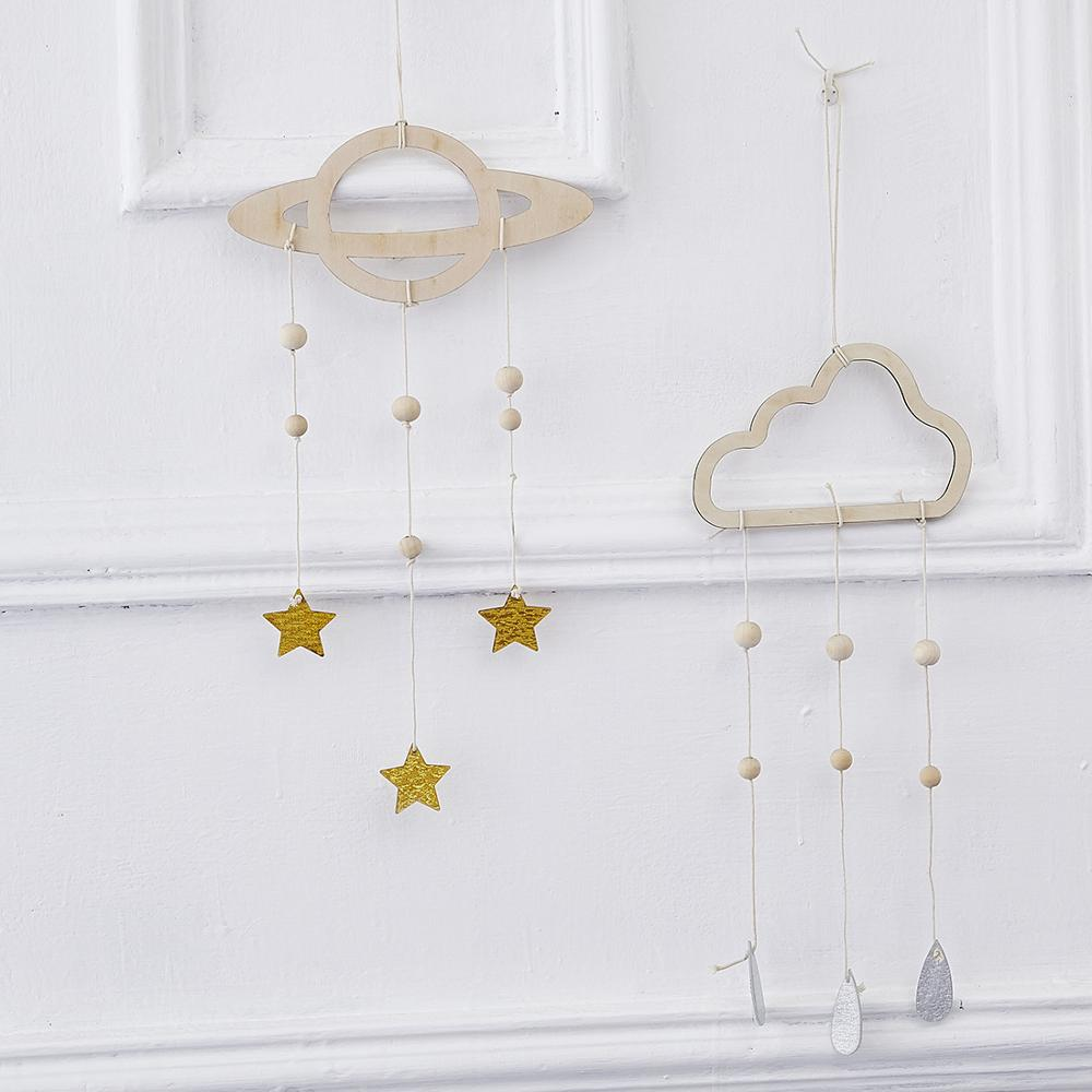 Baby Bed Hanging Nordic Style Wooden Cloud Star Raindrop Hanging Pendant Decoration For Baby Bedroom Wall Hanging Curtains Decor