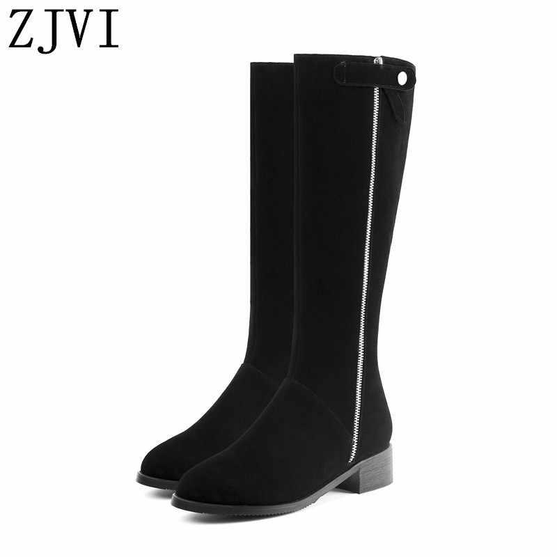 Damen 4cm platz heels winter kniehohe stiefel frau wildleder echtes leder 2019 frauen schwarz nubuk schuhe oberschenkel hohe für mädchen