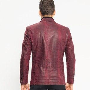 Image 4 - Man Genuine Leather Jacket Luxury Brand Sheepskin Slim Crocodile Pattern Blazer Jacket Business Single Breasted Short Coat Male