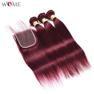Image 3 - WOME Pre colored 99j Red Wine Burgundy Human Hair Bundles With 4x4 Lace Closure Malaysian Straight Hair Extension Non remy